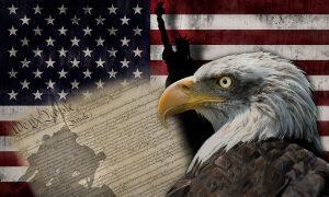 Bandera de Estados Unidos de América y símbolos de su democrac